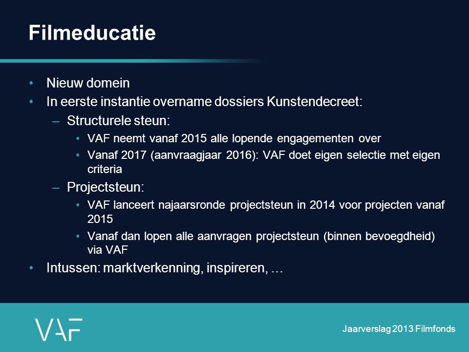 Filmeducatie •Nieuw domein •In eerste instantie overname dossiers Kunstendecreet: –Structurele steun: •VAF neemt vanaf 2015 alle lopende engagementen