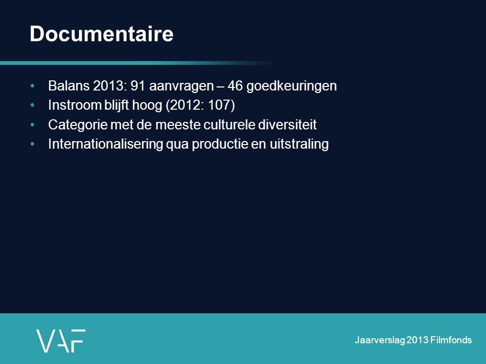 Documentaire •Balans 2013: 91 aanvragen – 46 goedkeuringen •Instroom blijft hoog (2012: 107) •Categorie met de meeste culturele diversiteit •Internati