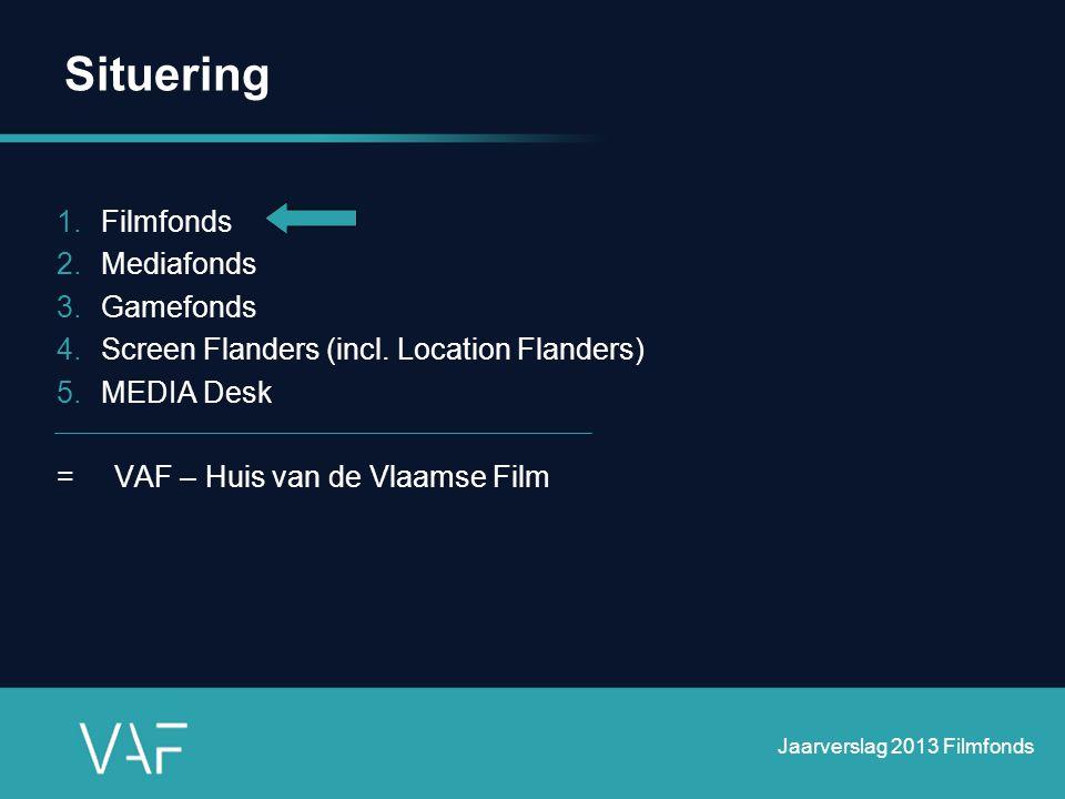 In 2013 •Beleidsbrief Minister Schauvliege: geïntegreerd filmbeleid •Voorbereiding nieuwe beheersovereenkomst Filmfonds (5 jaar) en Mediafonds (3 jaar)  Graduele transitie van bevoegdheden afkomstig van Departement CJSM, BAM en Kunstendecreet  Uittekenen van een nieuwe VAF-structuur  Evaluatie VAF door Departement CJSM  Voorbereiding wijziging VAF-decreet Jaarverslag 2013 Filmfonds