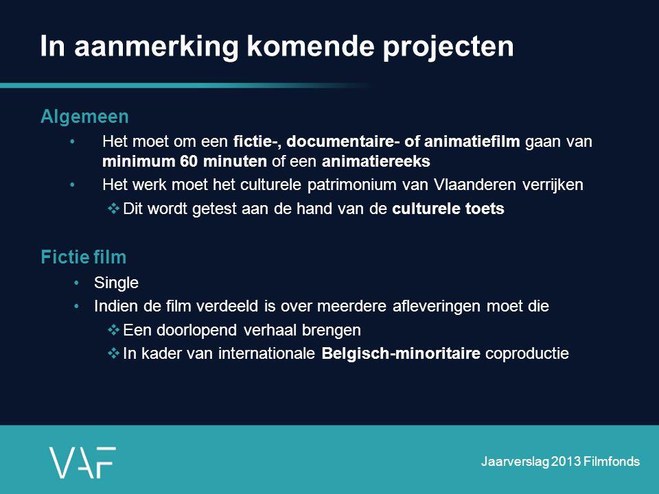 In aanmerking komende projecten Algemeen •Het moet om een fictie-, documentaire- of animatiefilm gaan van minimum 60 minuten of een animatiereeks •Het