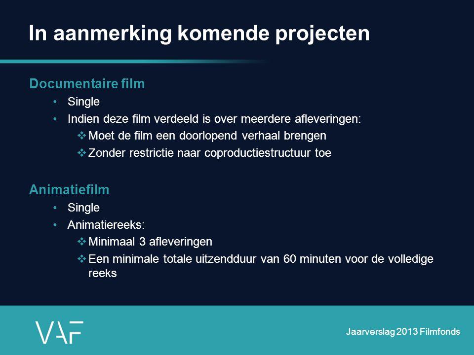 In aanmerking komende projecten Documentaire film •Single •Indien deze film verdeeld is over meerdere afleveringen:  Moet de film een doorlopend verh