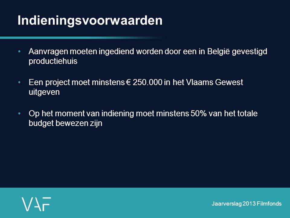 Indieningsvoorwaarden •Aanvragen moeten ingediend worden door een in België gevestigd productiehuis •Een project moet minstens € 250.000 in het Vlaams