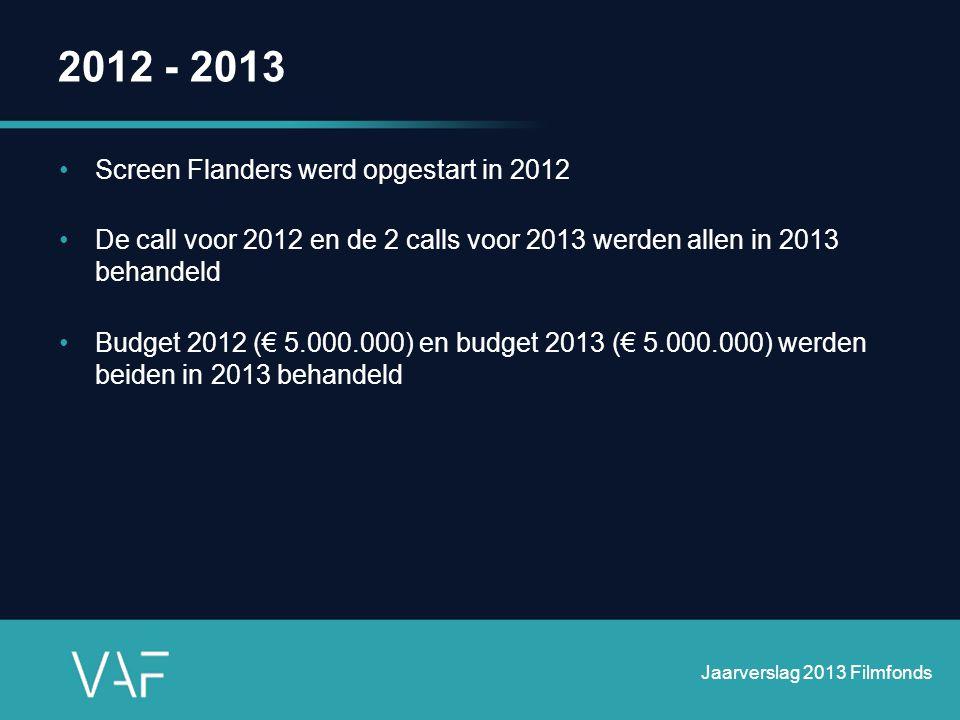 2012 - 2013 •Screen Flanders werd opgestart in 2012 •De call voor 2012 en de 2 calls voor 2013 werden allen in 2013 behandeld •Budget 2012 (€ 5.000.00