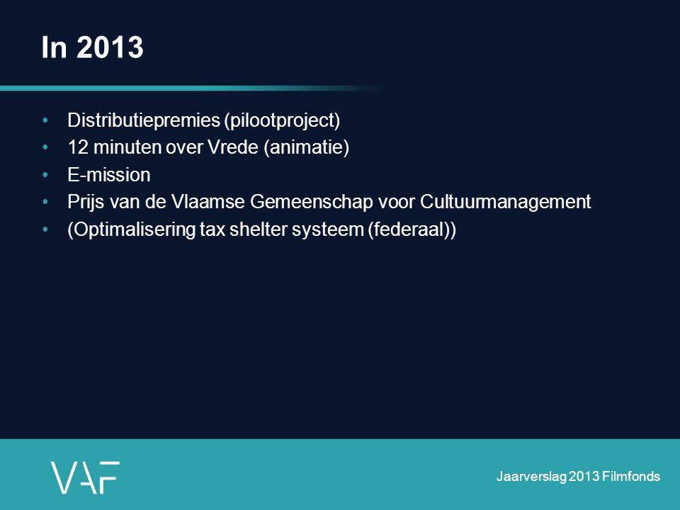In 2013 •Distributiepremies (pilootproject) •12 minuten over Vrede (animatie) •E-mission •Prijs van de Vlaamse Gemeenschap voor Cultuurmanagement •(Op