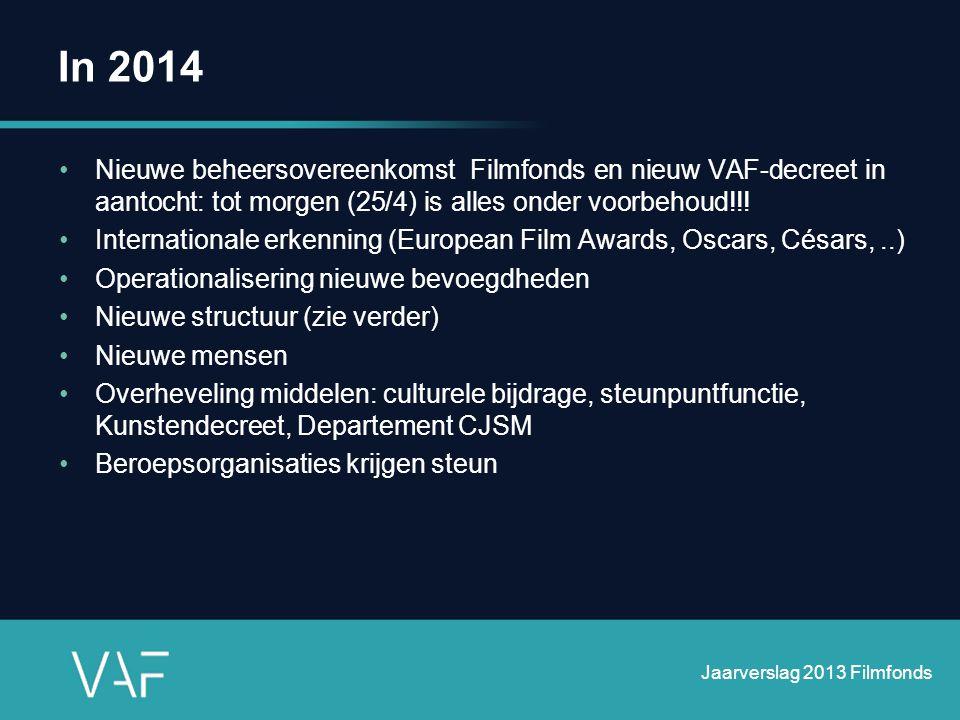 2012 - 2013 56 ingediende projecten •15 afgewezen • 1 onontvankelijk •40 gesteund Jaarverslag 2013 Filmfonds
