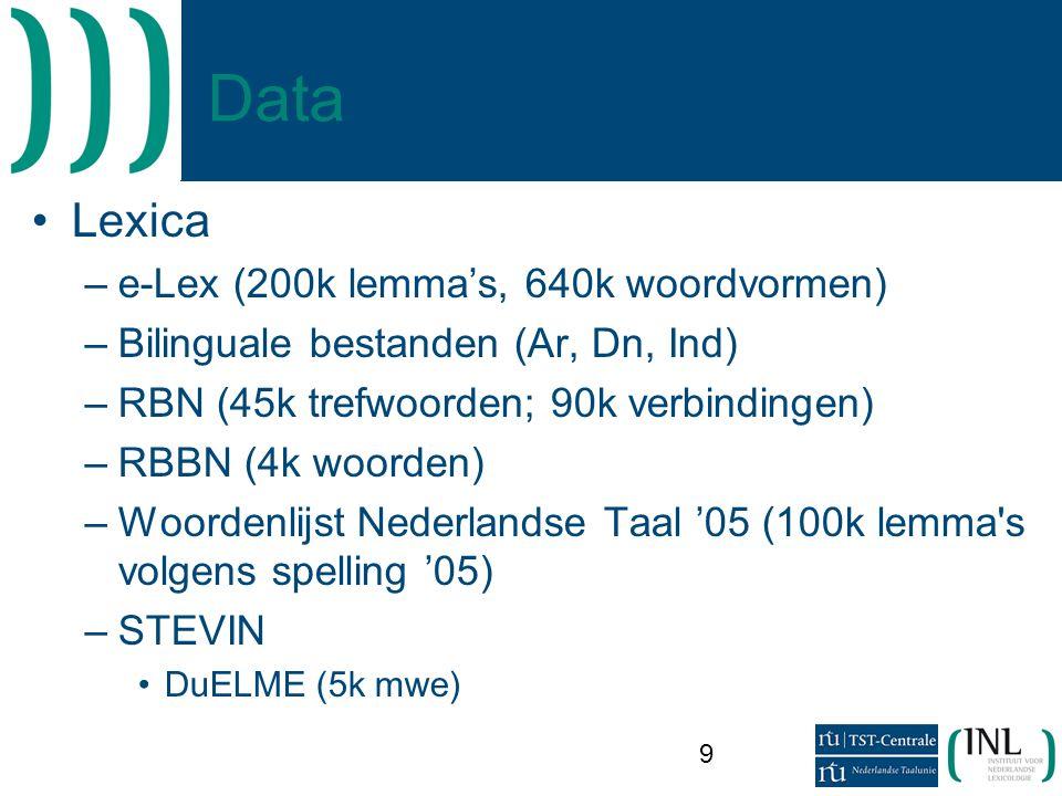9 Data •Lexica –e-Lex (200k lemma's, 640k woordvormen) –Bilinguale bestanden (Ar, Dn, Ind) –RBN (45k trefwoorden; 90k verbindingen) –RBBN (4k woorden) –Woordenlijst Nederlandse Taal '05 (100k lemma s volgens spelling '05) –STEVIN •DuELME (5k mwe)