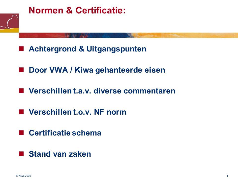 © Kiwa 2005 1 Normen & Certificatie:  Achtergrond & Uitgangspunten  Door VWA / Kiwa gehanteerde eisen  Verschillen t.a.v. diverse commentaren  Ver