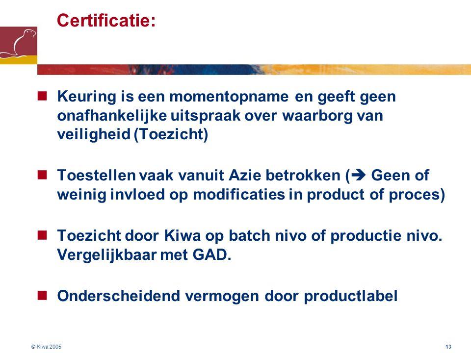 © Kiwa 2005 13 Certificatie:  Keuring is een momentopname en geeft geen onafhankelijke uitspraak over waarborg van veiligheid (Toezicht)  Toestellen