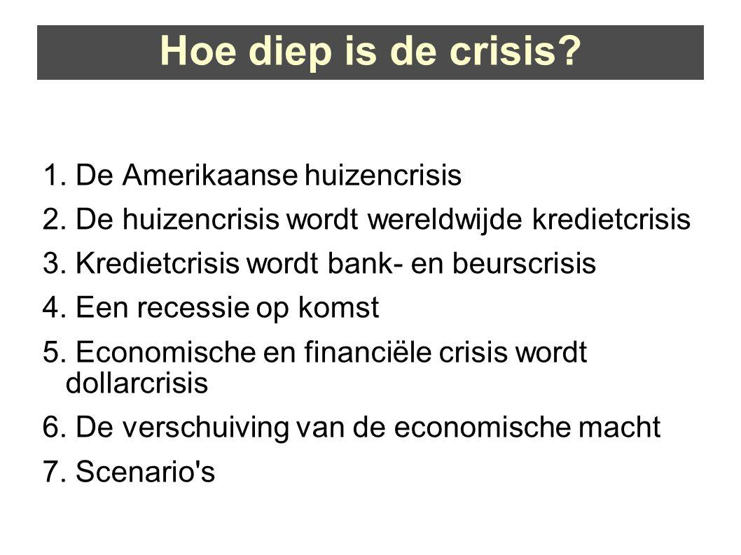 Hoe diep is de crisis. 1. De Amerikaanse huizencrisis 2.