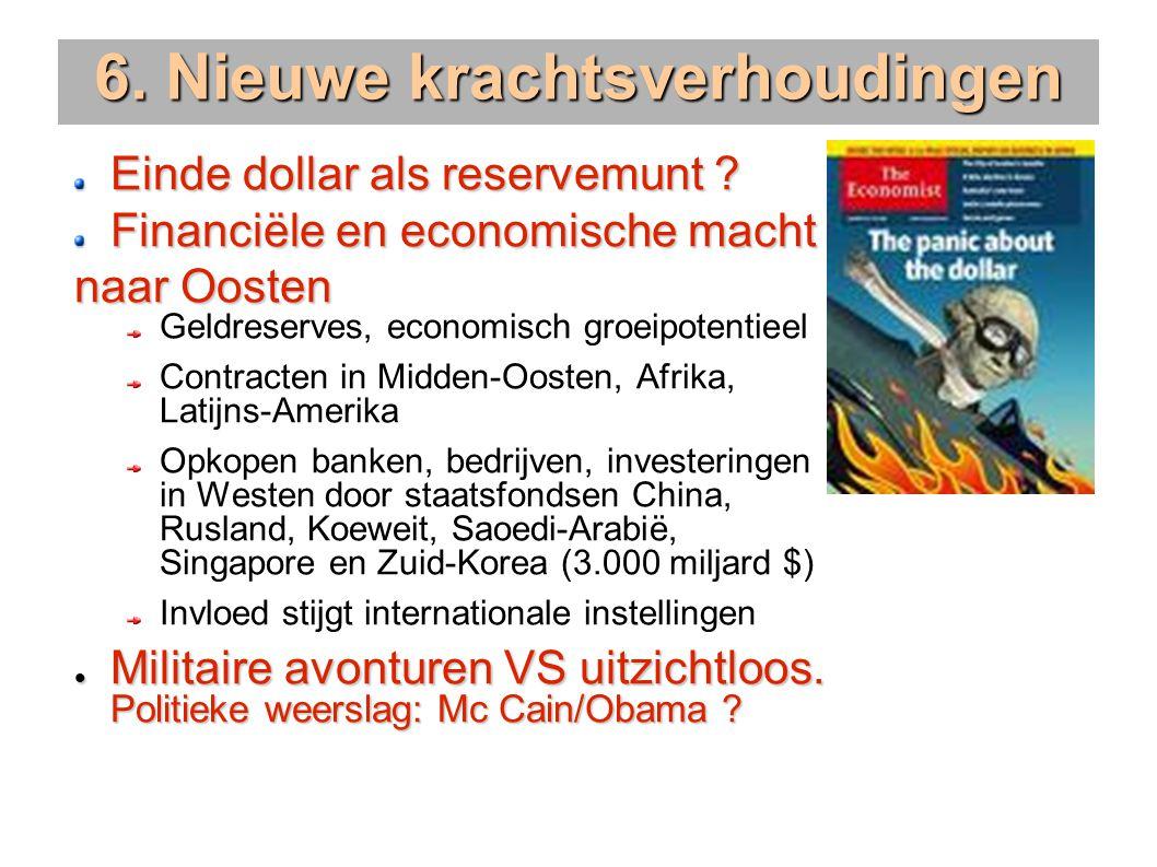6. Nieuwe krachtsverhoudingen Einde dollar als reservemunt .