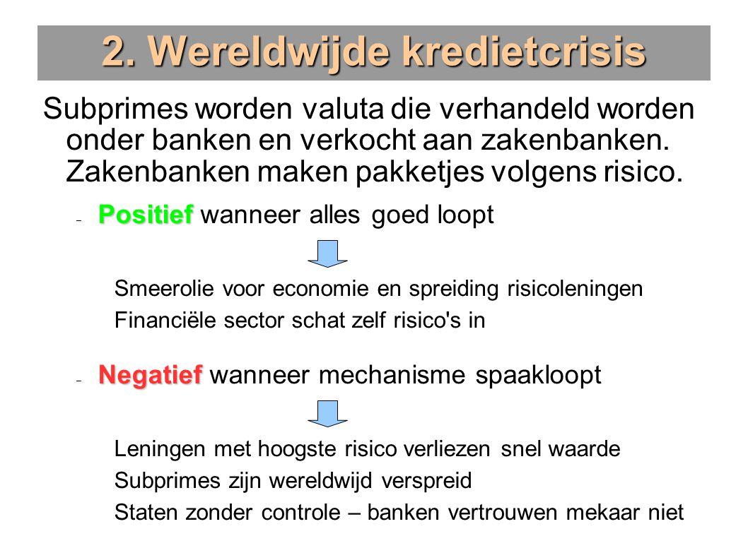 2. Wereldwijde kredietcrisis Subprimes worden valuta die verhandeld worden onder banken en verkocht aan zakenbanken. Zakenbanken maken pakketjes volge