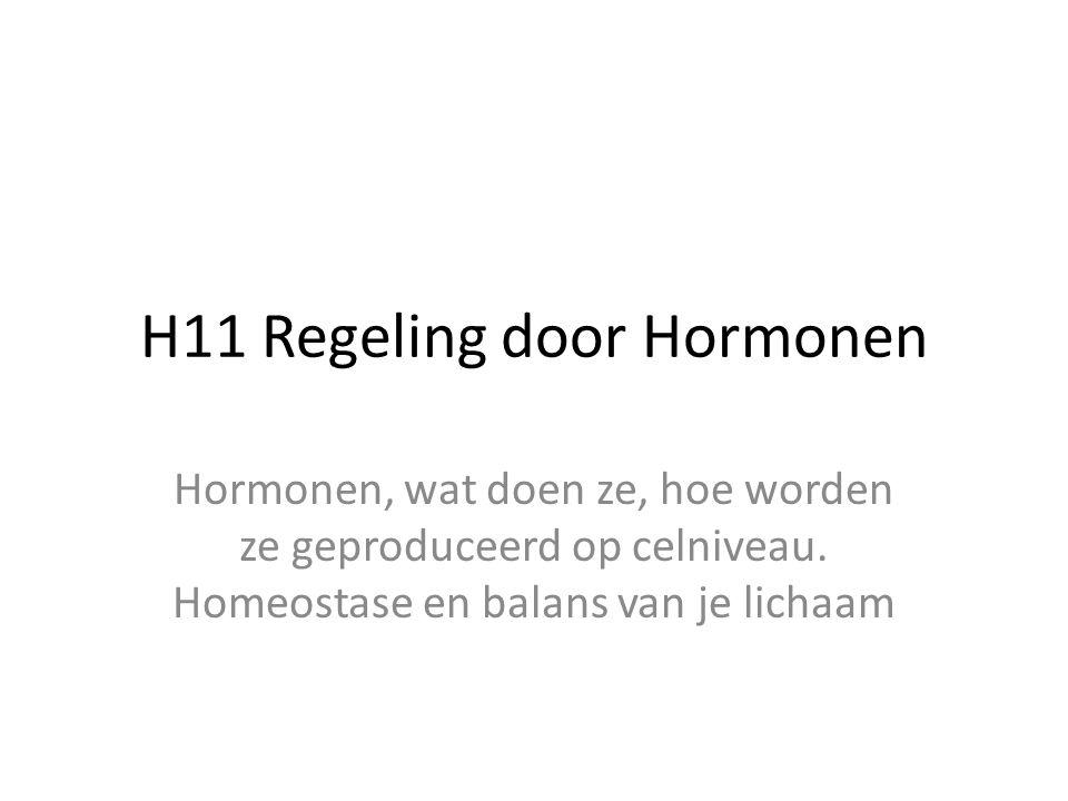 H11 Regeling door Hormonen Hormonen, wat doen ze, hoe worden ze geproduceerd op celniveau. Homeostase en balans van je lichaam