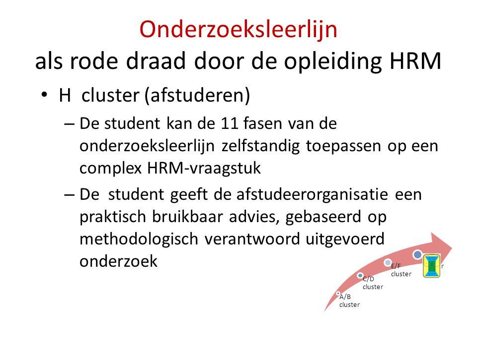 Onderzoeksleerlijn als rode draad door de opleiding HRM • H cluster (afstuderen) – De student kan de 11 fasen van de onderzoeksleerlijn zelfstandig to