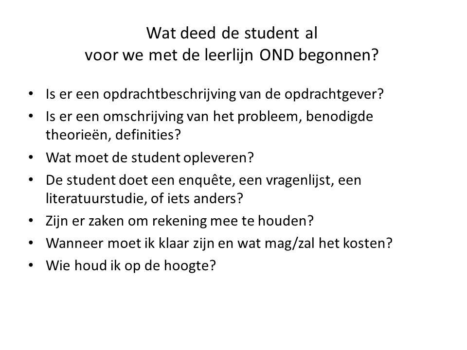 Wat deed de student al voor we met de leerlijn OND begonnen? • Is er een opdrachtbeschrijving van de opdrachtgever? • Is er een omschrijving van het p
