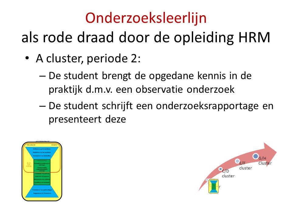 Onderzoeksleerlijn als rode draad door de opleiding HRM • A cluster, periode 2: – De student brengt de opgedane kennis in de praktijk d.m.v. een obser