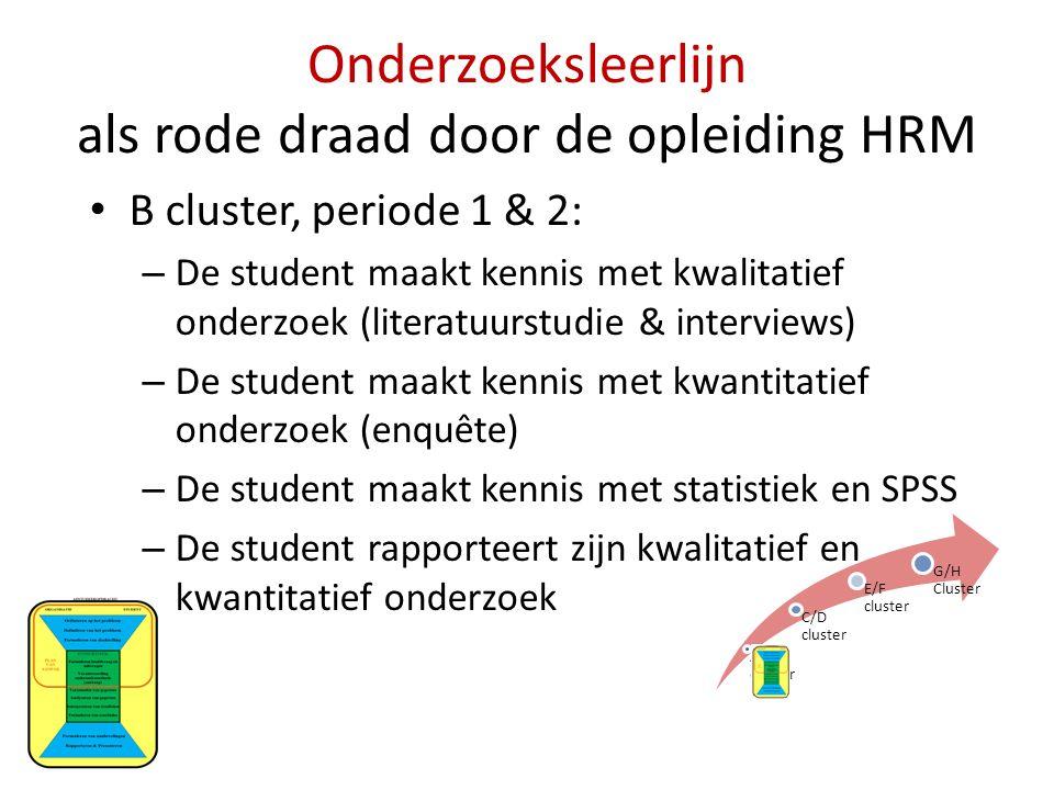 Onderzoeksleerlijn als rode draad door de opleiding HRM • B cluster, periode 1 & 2: – De student maakt kennis met kwalitatief onderzoek (literatuurstu