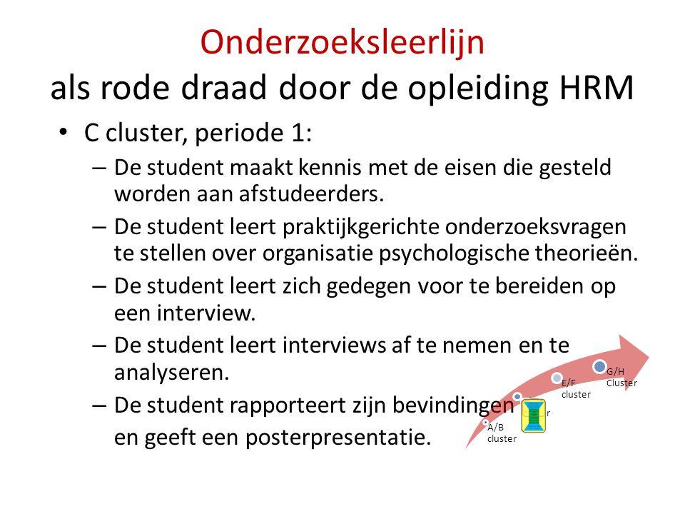 Onderzoeksleerlijn als rode draad door de opleiding HRM • C cluster, periode 1: – De student maakt kennis met de eisen die gesteld worden aan afstudee