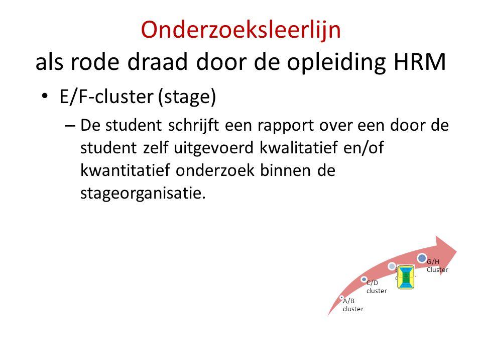 Onderzoeksleerlijn als rode draad door de opleiding HRM • E/F-cluster (stage) – De student schrijft een rapport over een door de student zelf uitgevoe