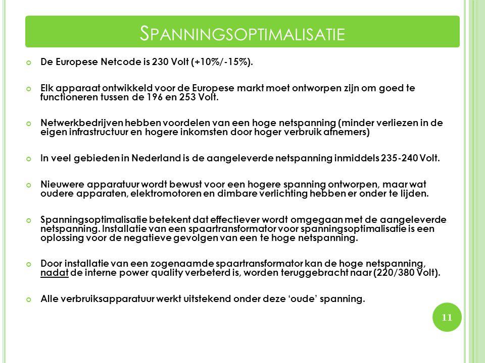 De Europese Netcode is 230 Volt (+10%/-15%). Elk apparaat ontwikkeld voor de Europese markt moet ontworpen zijn om goed te functioneren tussen de 196