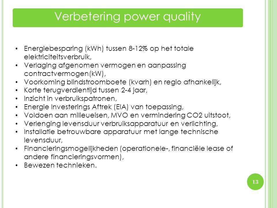 Verbetering power quality 13 • Energiebesparing (kWh) tussen 8-12% op het totale elektriciteitsverbruik, • Verlaging afgenomen vermogen en aanpassing
