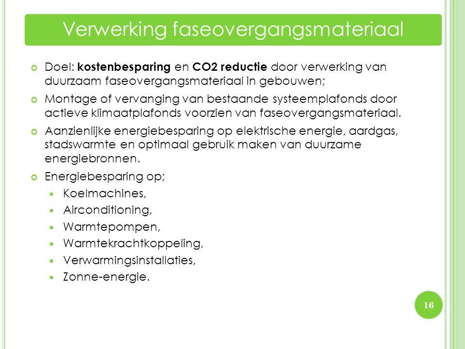 16 Verwerking faseovergangsmateriaal Doel: kostenbesparing en CO2 reductie door verwerking van duurzaam faseovergangsmateriaal in gebouwen; Montage of