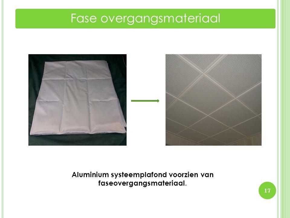 17 Fase overgangsmateriaal Aluminium systeemplafond voorzien van faseovergangsmateriaal.