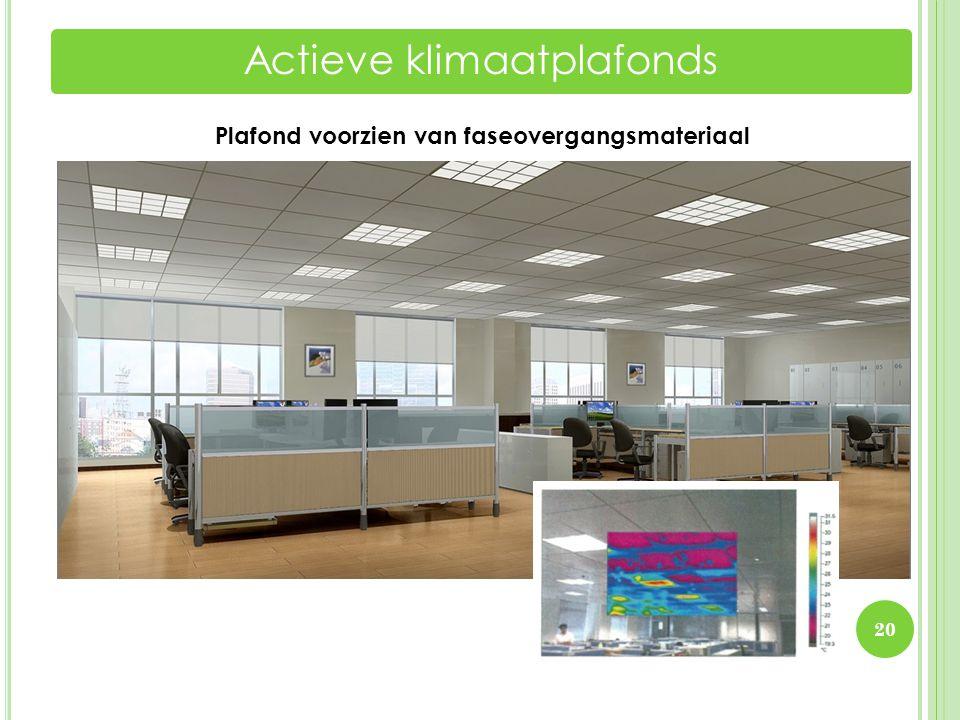 20 Actieve klimaatplafonds Plafond voorzien van faseovergangsmateriaal