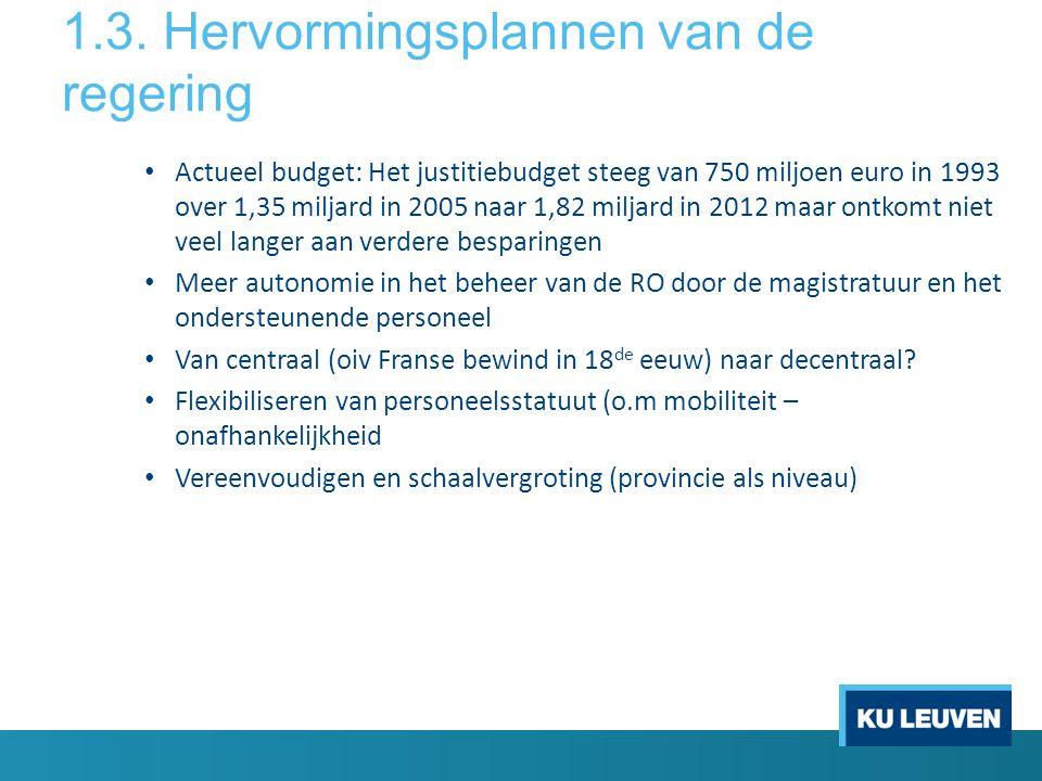1.3. Hervormingsplannen van de regering • Actueel budget: Het justitiebudget steeg van 750 miljoen euro in 1993 over 1,35 miljard in 2005 naar 1,82 mi