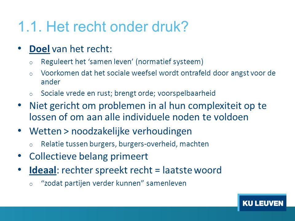 1.1. Het recht onder druk? • Doel van het recht: o Reguleert het 'samen leven' (normatief systeem) o Voorkomen dat het sociale weefsel wordt ontrafeld
