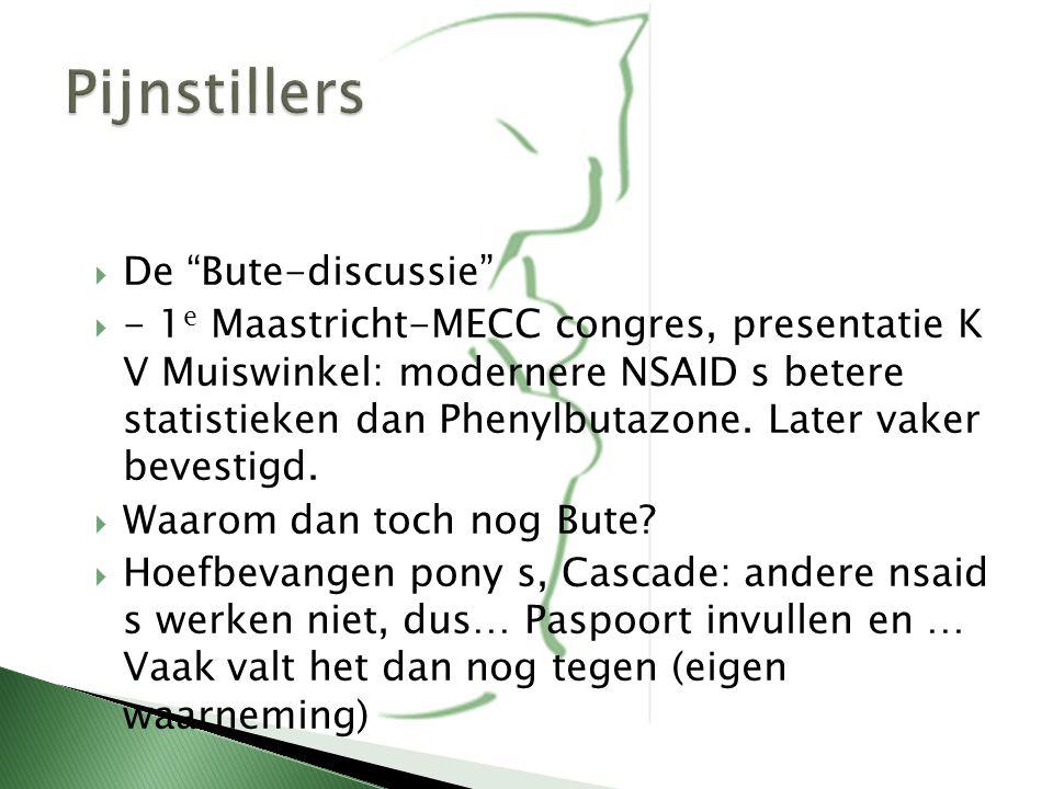 " De ""Bute-discussie""  - 1 e Maastricht-MECC congres, presentatie K V Muiswinkel: modernere NSAID s betere statistieken dan Phenylbutazone. Later vak"