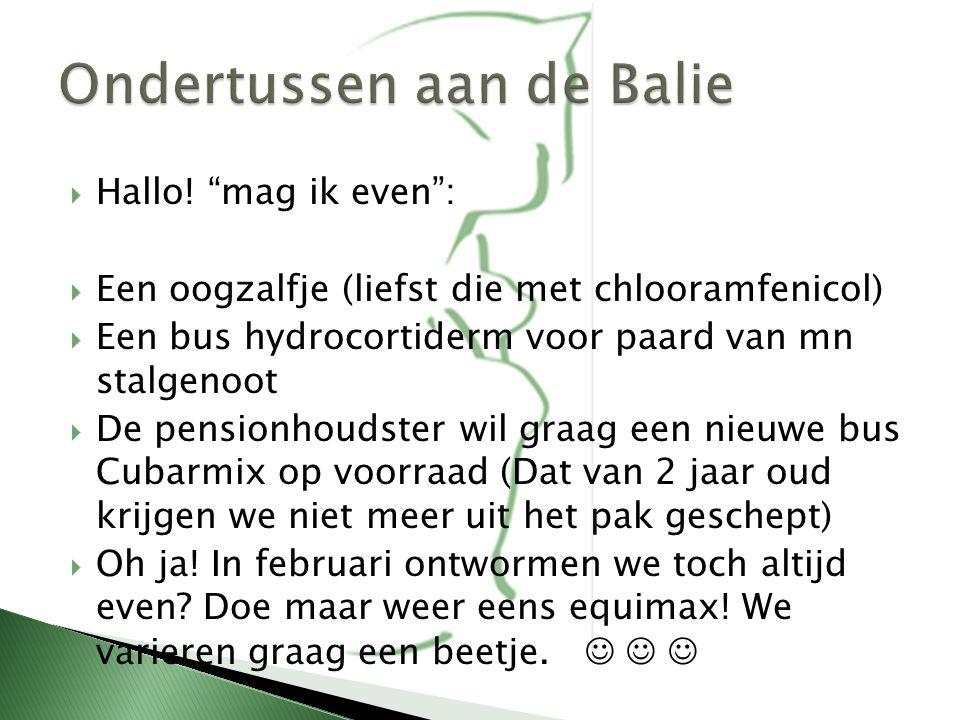  DIERGENEESMIDDELENWET ( WUD )  EU-regelementen: paard is slachtdier  Diergeneesmiddelenbesluit (AMvB)  Per 1 januari 2013: -- WET DIEREN --