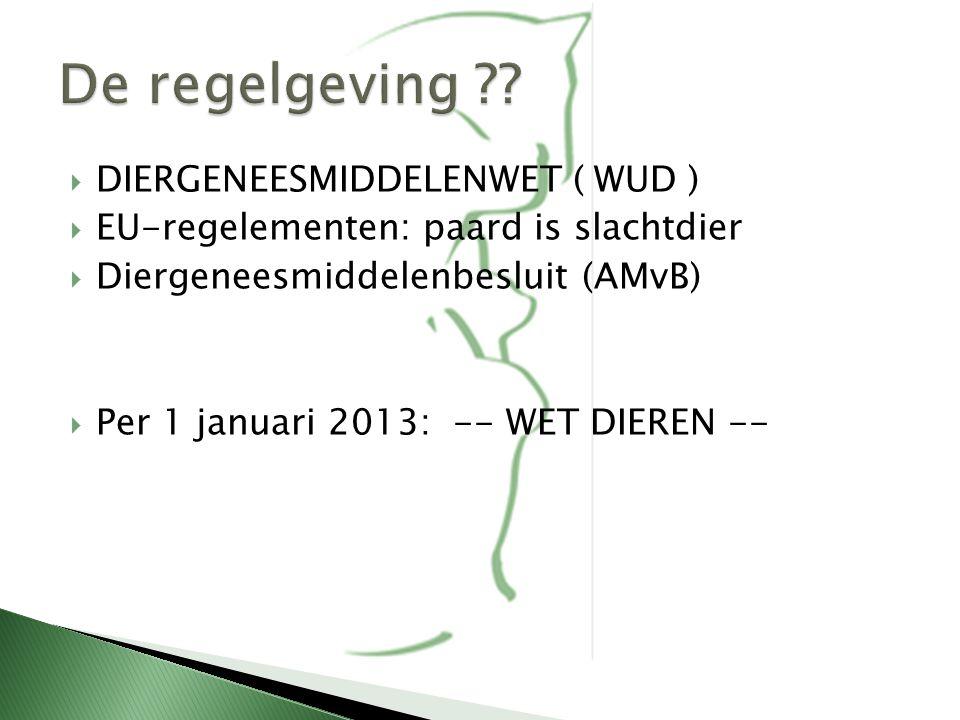 - Per 1-1-2013, treedt in fasen in werking - Geleidelijke vervanging bestaande wetgeving: - WUD, Diergeneesmiddelenwet en Gezondheids- en welzijnswet voor dieren