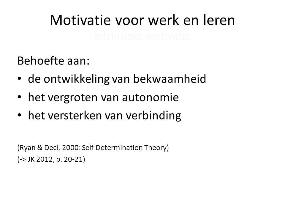 Bevlogenheid in het werk Engagement • Toewijding (Dedication): betekenisvol, enthousiasme, inspiratie, trots • Opgaan in het werk (Absorption): flow, jezelf vergeten • Uitdaging (Challenge): uitdagende, complexe taken • Plezier (Enjoyment): nieuwsgierigheid en zelfexpressie (Schaufeli & Bakker, 2004) (-> JK 2012, p.