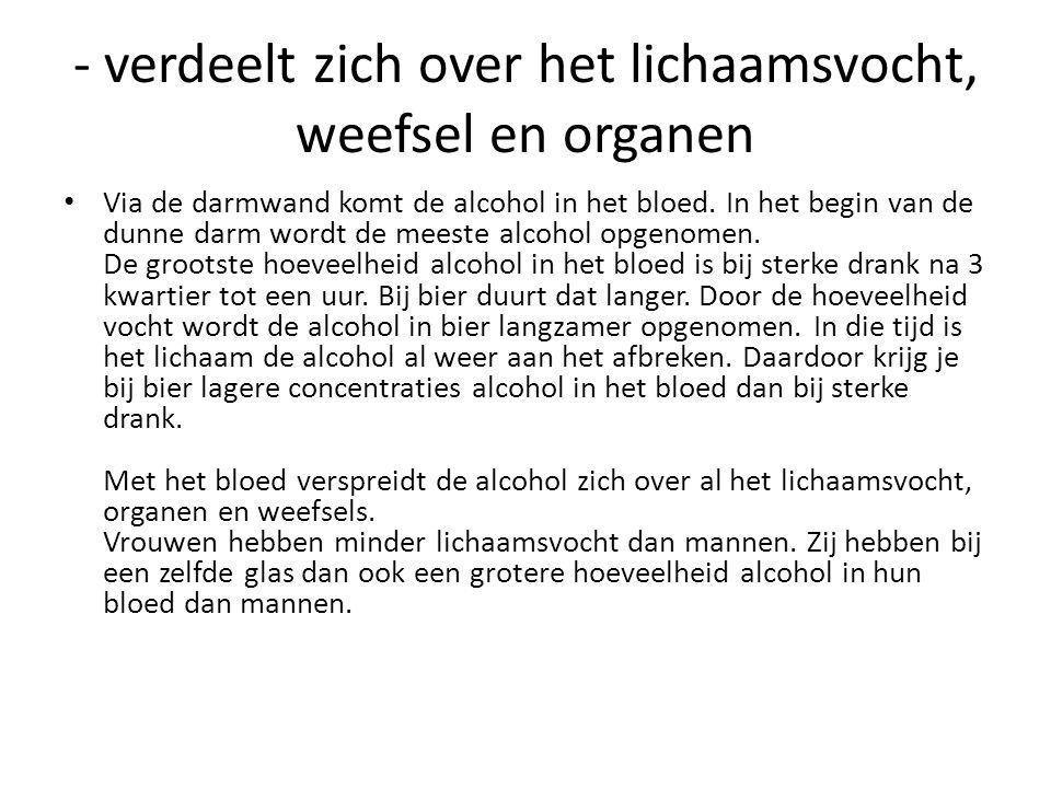 - verdeelt zich over het lichaamsvocht, weefsel en organen • Via de darmwand komt de alcohol in het bloed. In het begin van de dunne darm wordt de mee