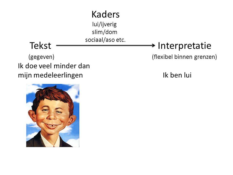 TekstInterpretatie (gegeven) (flexibel binnen grenzen) Ik doe veel minder dan mijn medeleerlingen Ik ben lui Kaders lui/ijverig slim/dom sociaal/aso etc.