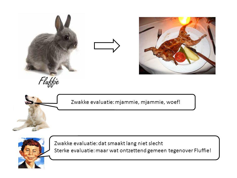 Zwakke evaluatie: dat smaakt lang niet slecht Sterke evaluatie: maar wat ontzettend gemeen tegenover Fluffie.