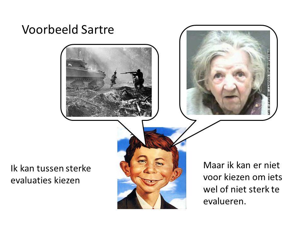 Voorbeeld Sartre Ik kan tussen sterke evaluaties kiezen Maar ik kan er niet voor kiezen om iets wel of niet sterk te evalueren.