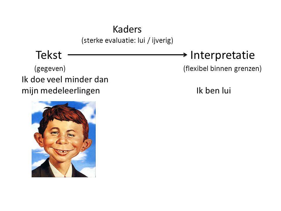 TekstInterpretatie (gegeven) (flexibel binnen grenzen) Ik doe veel minder dan mijn medeleerlingen Ik ben lui Kaders (sterke evaluatie: lui / ijverig)
