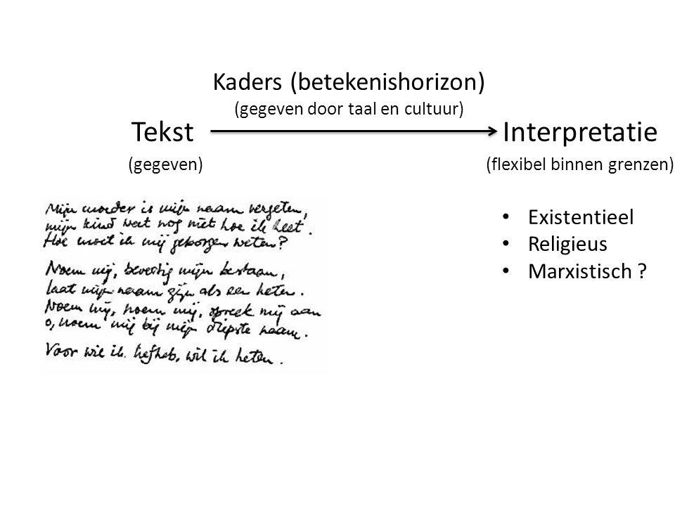 TekstInterpretatie (gegeven) (flexibel binnen grenzen) • Existentieel • Religieus • Marxistisch ? Kaders (betekenishorizon) (gegeven door taal en cult