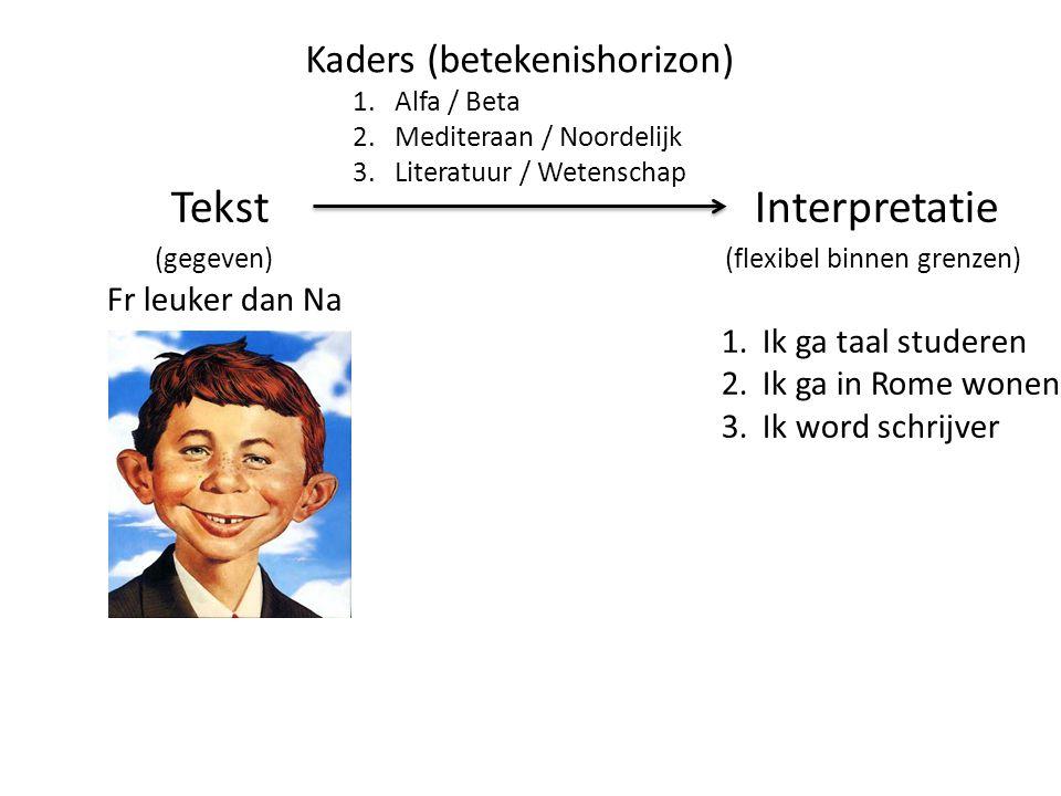 Tekst Interpretatie (gegeven) (flexibel binnen grenzen) Fr leuker dan Na 1.Ik ga taal studeren 2.Ik ga in Rome wonen 3.Ik word schrijver Kaders (betek