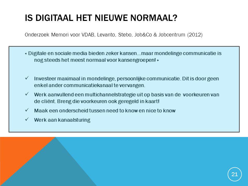 IS DIGITAAL HET NIEUWE NORMAAL? Onderzoek Memori voor VDAB, Levanto, Stebo, Job&Co & Jobcentrum (2012) « Digitale en sociale media bieden zeker kansen