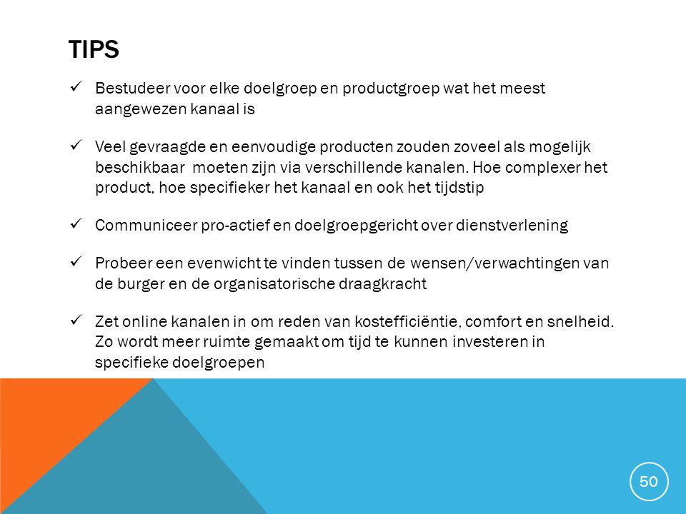 TIPS  Bestudeer voor elke doelgroep en productgroep wat het meest aangewezen kanaal is  Veel gevraagde en eenvoudige producten zouden zoveel als mog