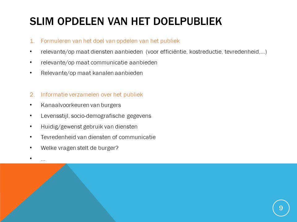 SLIM OPDELEN VAN HET DOELPUBLIEK 1.Formuleren van het doel van opdelen van het publiek • relevante/op maat diensten aanbieden (voor efficiëntie, kostr