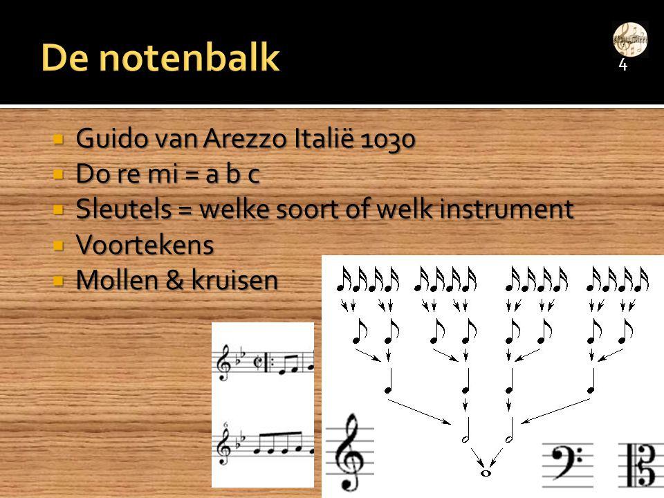  Guido van Arezzo Italië 1030  Do re mi = a b c  Sleutels = welke soort of welk instrument  Voortekens  Mollen & kruisen 4