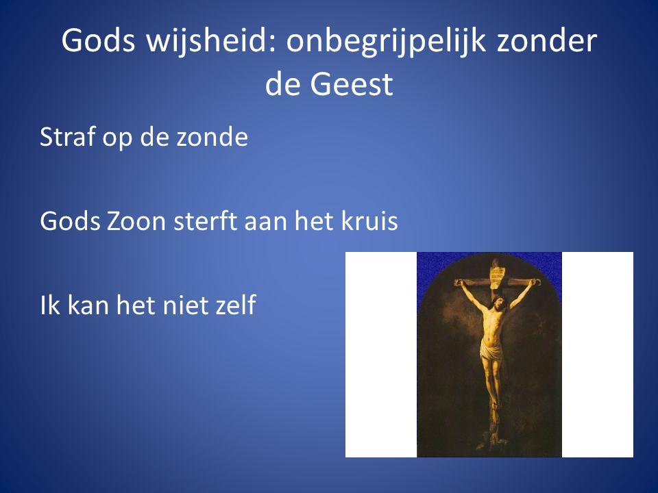 Gods wijsheid: onbegrijpelijk zonder de Geest Straf op de zonde Gods Zoon sterft aan het kruis Ik kan het niet zelf