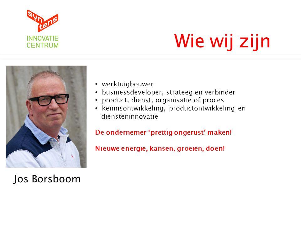 Wie wij zijn Syntens Innovatiecentrum Jos Borsboom • werktuigbouwer • businessdeveloper, strateeg en verbinder • product, dienst, organisatie of proce