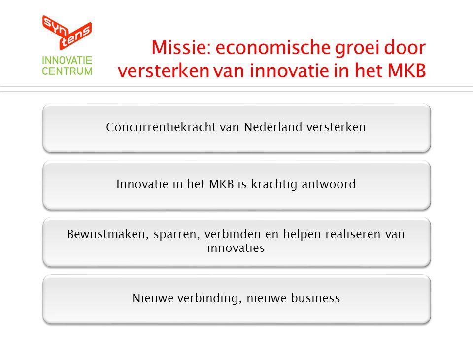 Missie: economische groei door versterken van innovatie in het MKB Concurrentiekracht van Nederland versterken Innovatie in het MKB is krachtig antwoord Bewustmaken, sparren, verbinden en helpen realiseren van innovaties Nieuwe verbinding, nieuwe business