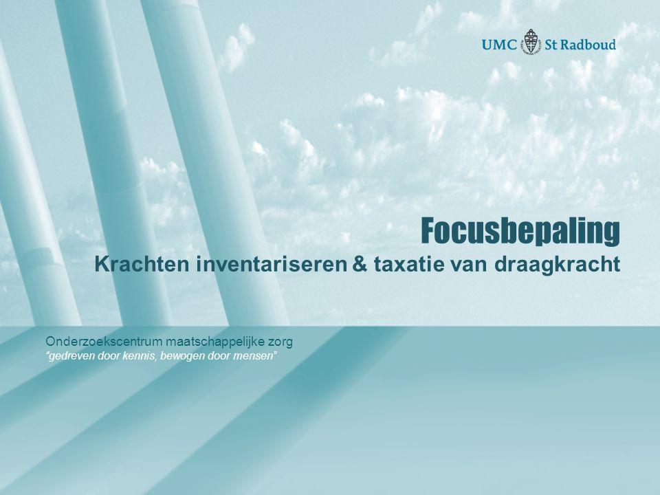"""Onderzoekscentrum maatschappelijke zorg """"gedreven door kennis, bewogen door mensen"""" Focusbepaling Krachten inventariseren & taxatie van draagkracht"""