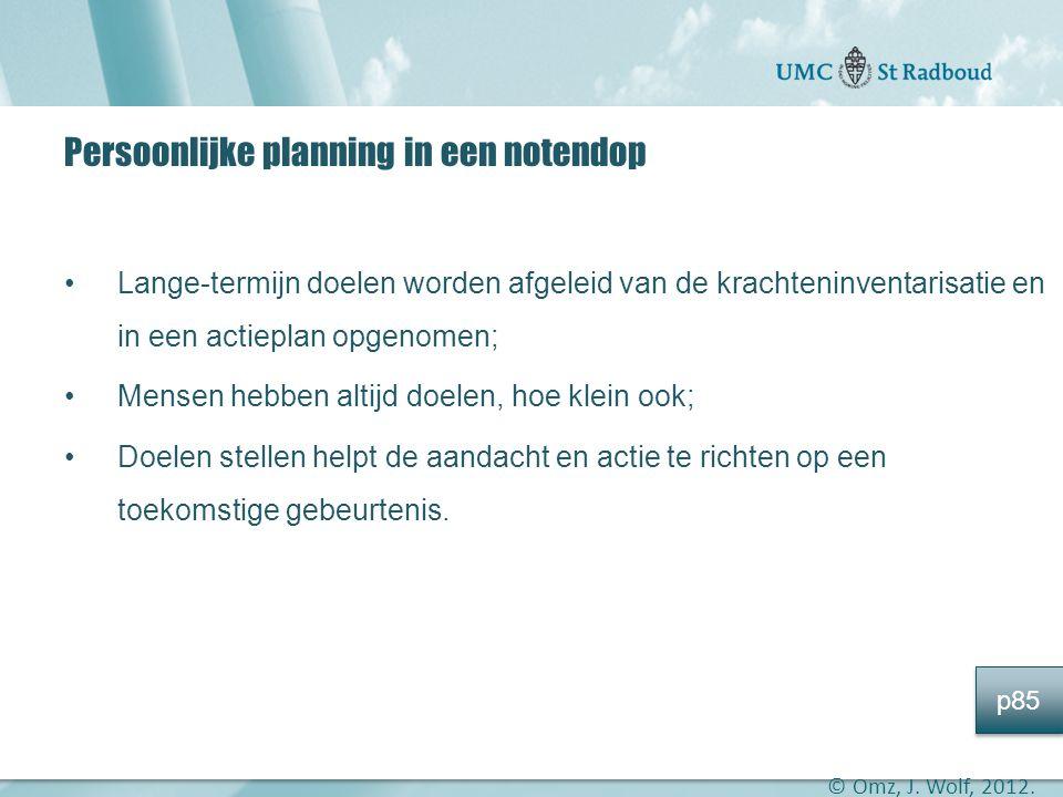 """Onderzoekscentrum maatschappelijke zorg """"gedreven door kennis, bewogen door mensen"""" Persoonlijke planning in een notendop •Lange-termijn doelen worden"""