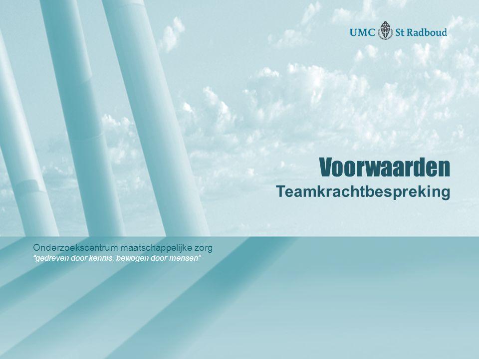 """Onderzoekscentrum maatschappelijke zorg """"gedreven door kennis, bewogen door mensen"""" Voorwaarden Teamkrachtbespreking"""